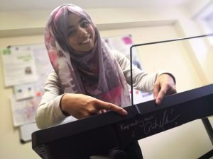 Sofia Sheikh with signed keyboard